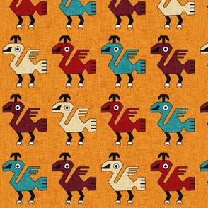 Inca Bird Motif: Orange Texture