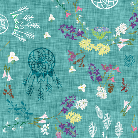 Wildflower dreams (teal linen) fabric by nouveau_bohemian on Spoonflower - custom fabric