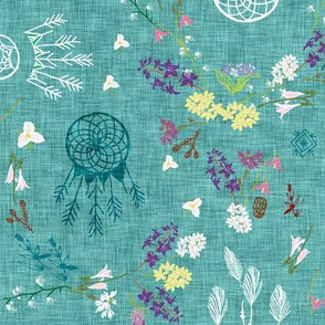 Wildflower dreams (teal linen)