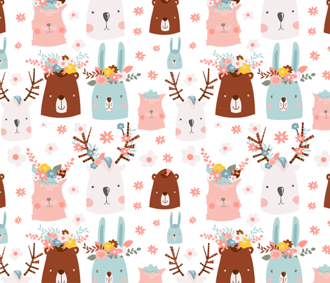 Animals in Flowers fabric by webvilla on Spoonflower - custom fabric