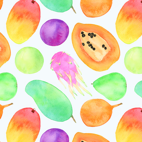 tropical fruits fabric by runlenarun on Spoonflower - custom fabric