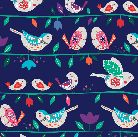 bird on a wire on dark blue fabric by gingerlique on Spoonflower - custom fabric