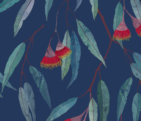 Eucalyptus leaves and flowers on blue /1/ fabric by lavish_season on Spoonflower - custom fabric