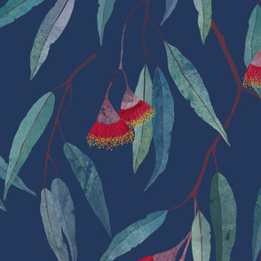 Eucalyptus leaves and flowers on blue /1/
