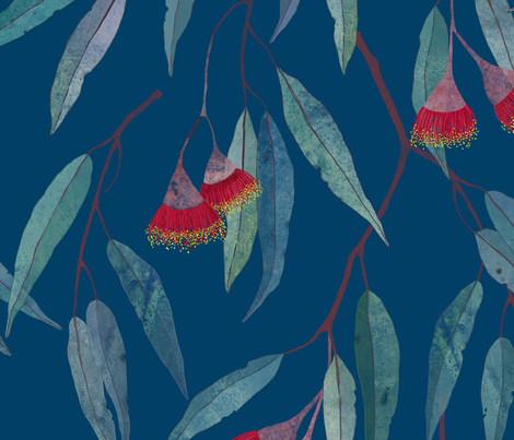 Eucalyptus leaves and flowers on blue /2/ fabric by lavish_season on Spoonflower - custom fabric