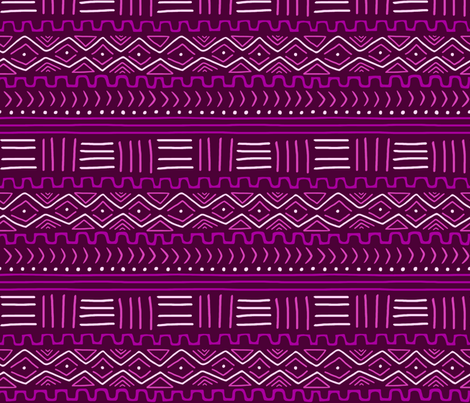 Mudcloth in Purple & Pink fabric by thewellingtonboot on Spoonflower - custom fabric