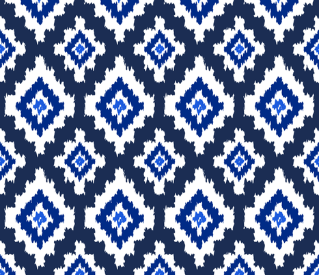 Boho Ikat in Navy fabric by thewellingtonboot on Spoonflower - custom fabric