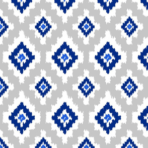 Boho Ikat in Blue & Grey