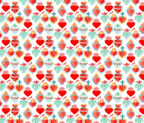 sacred hearts fabric by runlenarun on Spoonflower - custom fabric