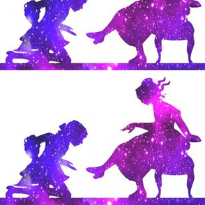 4 Cinderella fairy tales prince princess glass slippers shoes sparkles stars universe galaxy cosmic cosmos planets nebula silhouette watercolor effect  purple blue violet