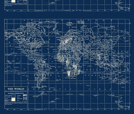 World Map in Navy fabric by aftermyart on Spoonflower - custom fabric