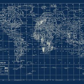 World Map in Navy