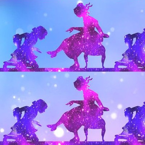 3 Cinderella fairy tales prince princess glass slippers shoes sparkles stars universe galaxy cosmic cosmos planets nebula silhouette watercolor effect  purple blue violet clouds