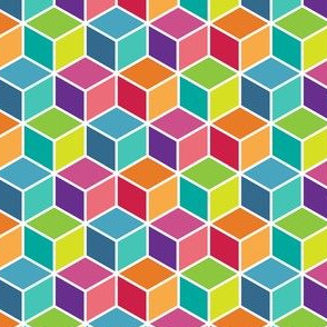 Colorful Modern Geometric 3D Box Pattern