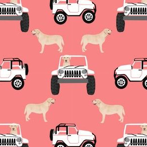 yellow lab and jeep fabric cute dog  design - coral