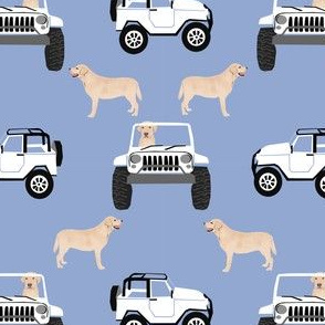 yellow lab afabric cute dog  design - periwinkle