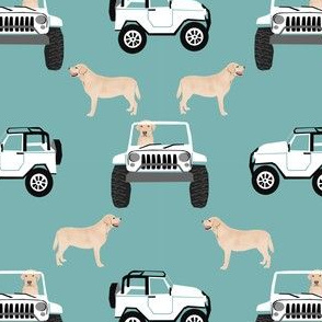 yellow lab and jeep fabric cute dog  design - gulf blue