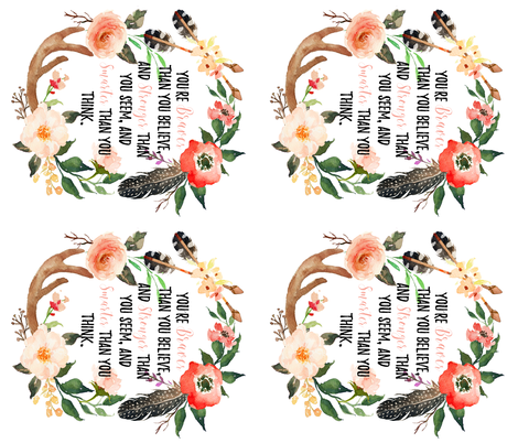4 In 1 Youre Braver Than You Think Quote Fabric Hipkiddesigns