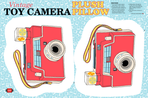 Vintage Toy Camera Cut-and-Sew Plush Pillow Pattern || 60s 70s 80s photography illustration children kids room dorm home goods decor fabric by pennycandy on Spoonflower - custom fabric