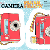 Vintage Toy Camera Cut-and-Sew Plush Pillow Pattern || 60s 70s 80s photography illustration children kids room dorm home goods decor