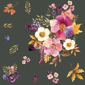 """6"""" Fall Friends Basic Florals - Olive"""
