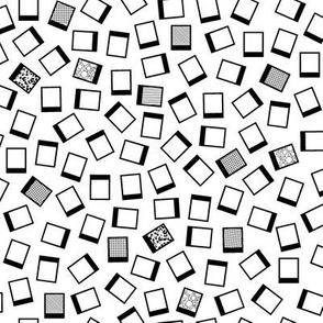 Ditsy Prints (Black on White) || geometric polaroid photo photography scatter