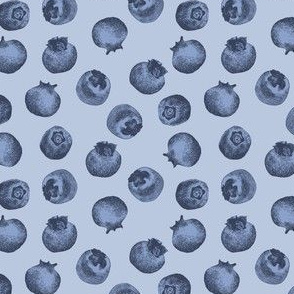 Summer Blueberries Fruit Cute Handdrawn Blue berry Pattern