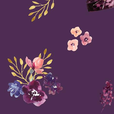 "18"" Fall Friends Basic Florals - Purple fabric by shopcabin on Spoonflower - custom fabric"