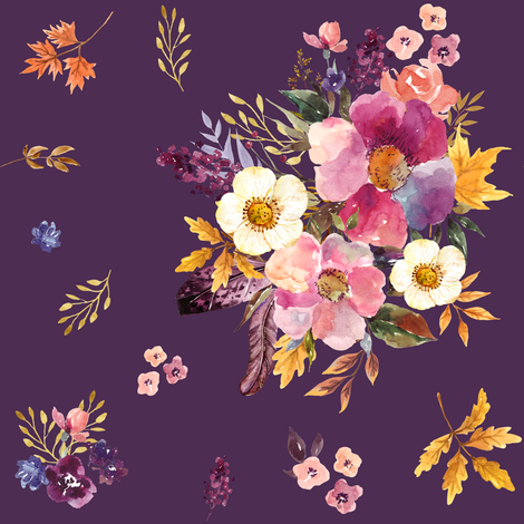 "8"" Fall Friends Basic Florals - Purple fabric by shopcabin on Spoonflower - custom fabric"