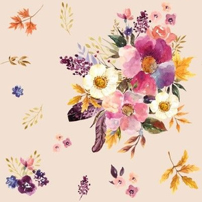 """8"""" Fall Friends Basic Florals - Taupe"""