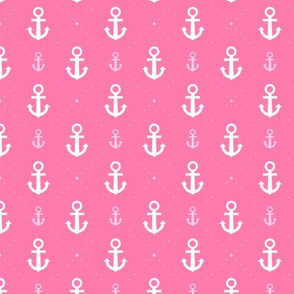 Cute Pink and White Nautical Anchors and Poka Dots