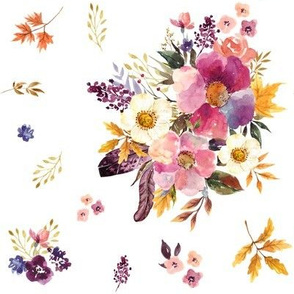 """8"""" Fall Friends Basic Florals - White"""