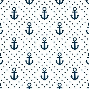 Cute Blue Nautical Anchors and Poka Dots