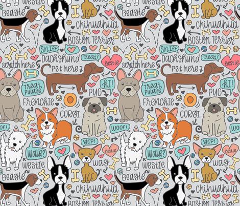 Dog Party! grey fabric by jaymehennel on Spoonflower - custom fabric