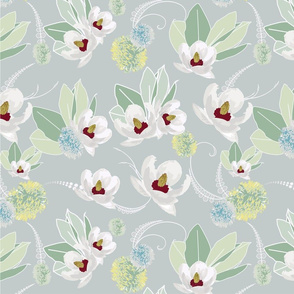Amelia White Flower Design with Gray Background