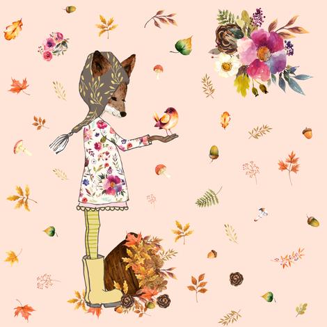 "8"" Fall Friends - Peach fabric by shopcabin on Spoonflower - custom fabric"