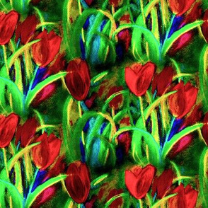 RED GREEN classic TULIP FIELDS BOUQUET CHALK PASTEL
