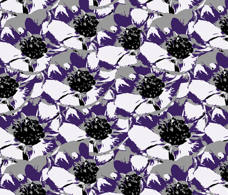 Anemone Multi Purple & Gray  fabric by deanna_v_amirante on Spoonflower - custom fabric