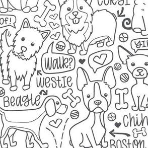 Dog Party! B&W
