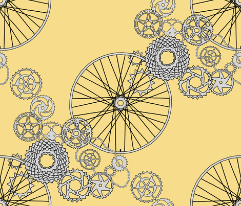 Beautiful bicycle parts - FQ - pear yellow - F7DD8B fabric by victorialasher on Spoonflower - custom fabric