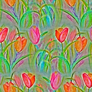 CHALK PASTEL TULIP FIELDS FLOWERS STRIPES CHALK PASTEL NEUTRAL BEIGE TAUPE