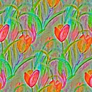 CHALK PASTEL TULIP FIELDS FLOWERS DIAGONAL CHALK PASTEL NEUTRAL BEIGE TAUPE