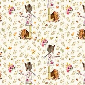 "4"" Fall Friends Foliage Sepia Leaves - Ivory"