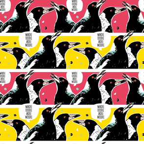 Magpie Talk // Australian bird black bird aussie retro warhol pop art red yellow black stark vintage cartoon comic