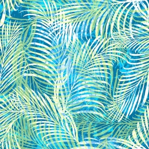 Batik Palms Green on Teal 200