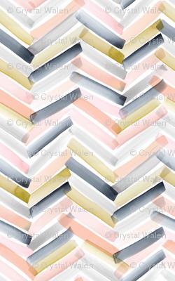 Chevron Stripes - Blush Navy