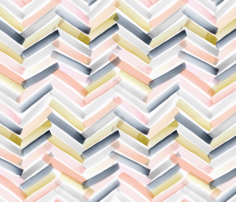 Chevron Stripes - Blush Navy fabric by crystal_walen on Spoonflower - custom fabric