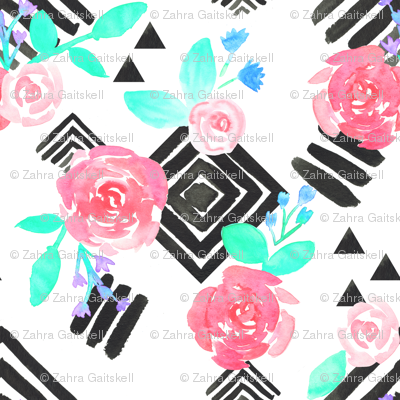 Boho Flowers on Geometric Monochrome Pattern