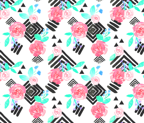 Boho Flowers on Geometric Monochrome Pattern fabric by suzzincolour on Spoonflower - custom fabric