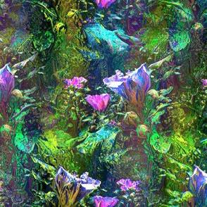 AQUA BLUE INDIGO INDIGO STRIPES DREAMY FLOWERY FAIRY FOREST
